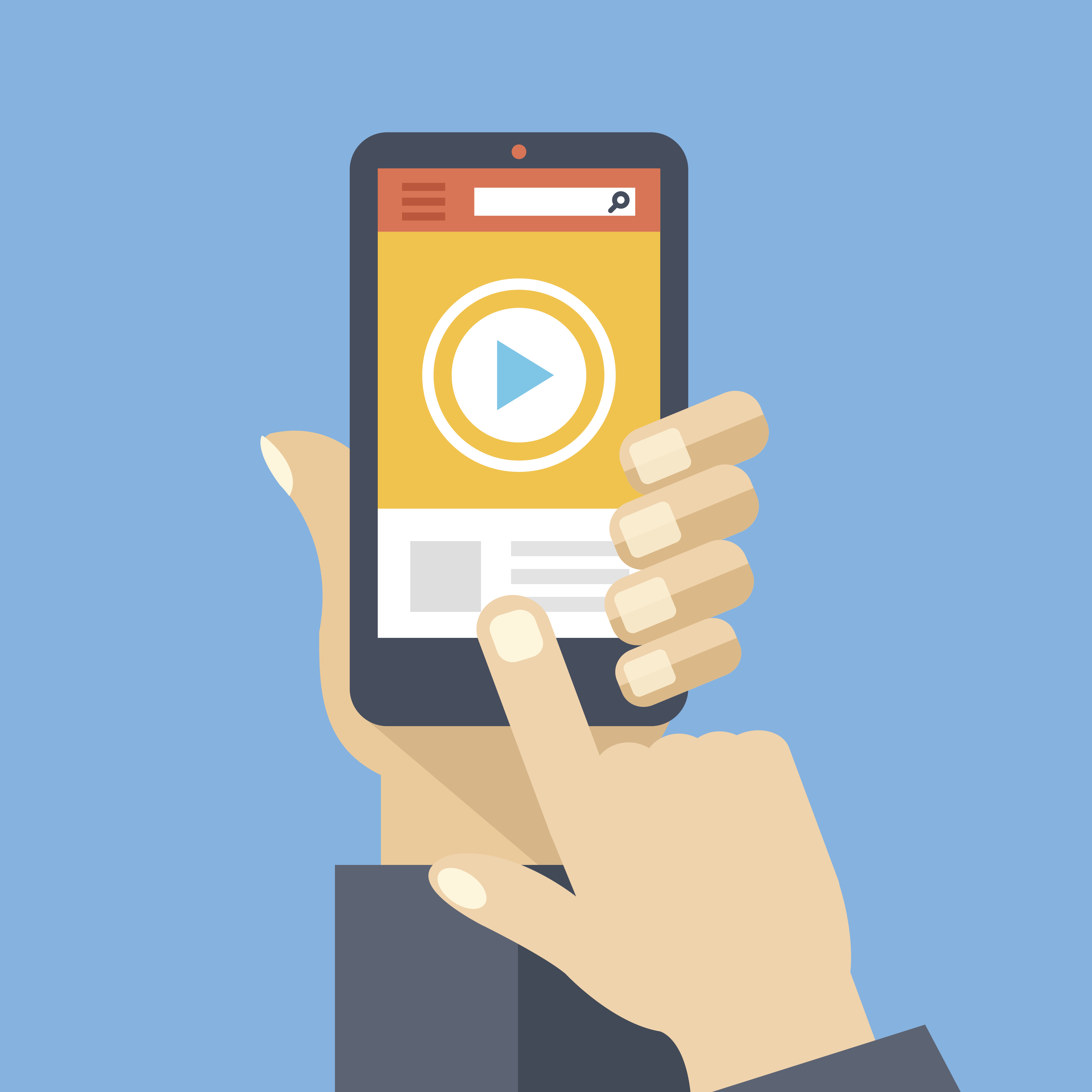 Video app on smartphone screen. Watch and share digital content. Hand holds smartphone, finger touch screen. Modern concept for web banners, web sites, infographics. Flat design vector illustration