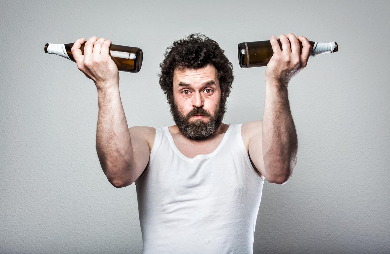 Weightlifting with Beer bottles, Bearded Beer Man,