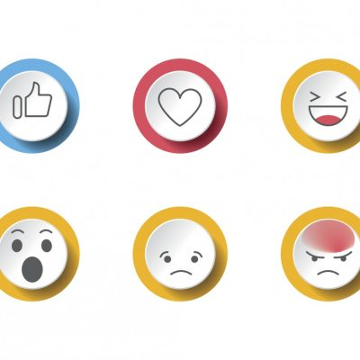 Social network feedback reactions icons - thumbs up, love, smile, angry, wonder
