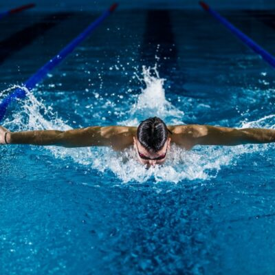 Swimmer with goggles in the water